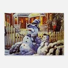Father & Son Snowman 5'x7'Area Rug