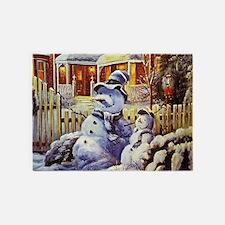 Father & Son Snowman 5'x7'Area Rug