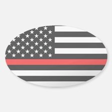 Firefighter: Clear Black Flag & Red Sticker (Oval)
