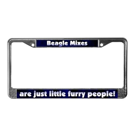 Furry People Beagle Mix License Plate Frame