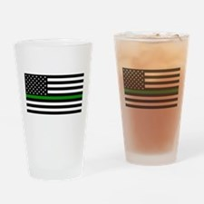 U.S. Flag: The Thin Green Line Drinking Glass