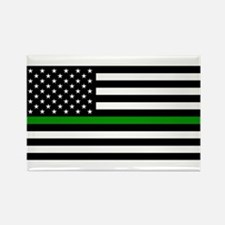U.S. Flag: The Thin Green Line Rectangle Magnet