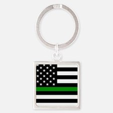 U.S. Flag: The Thin Green Line Square Keychain