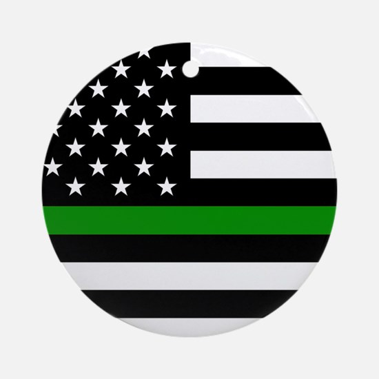U.S. Flag: The Thin Green Line Round Ornament
