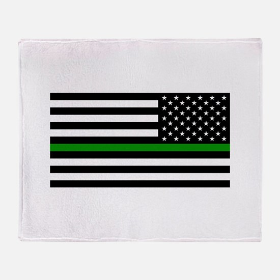 U.S. Flag: The Thin Green Line (Reve Throw Blanket