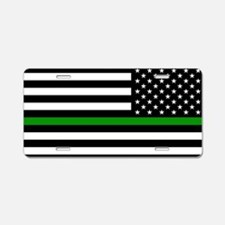 U.S. Flag: The Thin Green L Aluminum License Plate