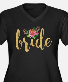 Gold Glitter Bride text floral a Plus Size T-Shirt