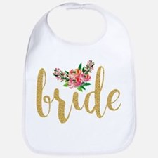 Gold Glitter Bride text floral accent Bib