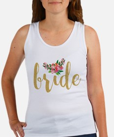 Gold Glitter Bride text floral accent Tank Top