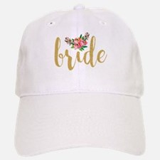 Gold Glitter Bride text floral accent Baseball Baseball Cap