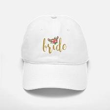 Gold Glitter Bride text floral accent Baseball Baseball Cap