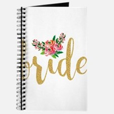 Gold Glitter Bride text floral accent Journal