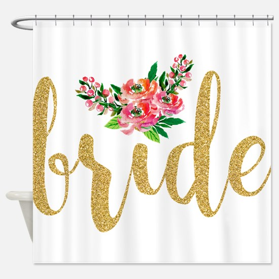 Gold Glitter Bride text floral acce Shower Curtain