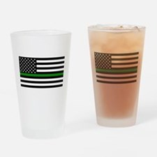 U.S. Flag: The Thin Green Line (Cle Drinking Glass