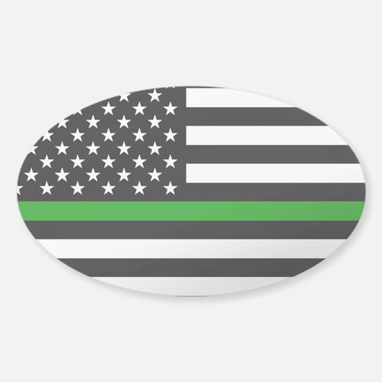 U.S. Flag: The Thin Green Line (Cle Sticker (Oval)