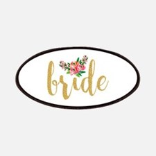 Gold Glitter Bride text floral accent Patch