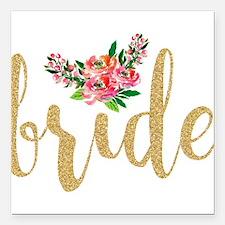 "Gold Glitter Bride text Square Car Magnet 3"" x 3"""