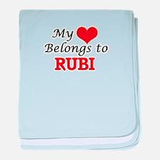 My heart belongs to Rubi baby blanket