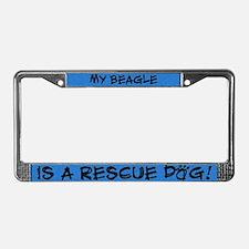 Rescue Dog Beagle License Plate Frame