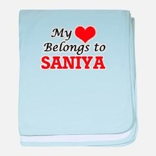 My heart belongs to Saniya baby blanket