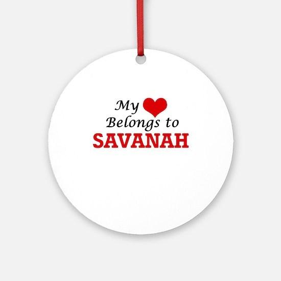 My heart belongs to Savanah Round Ornament