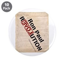 """Ron Paul Constitution 3.5"""" Button (10 pack)"""