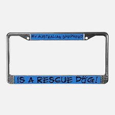 Rescue Dog Australian Shepherd License Plate Frame