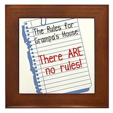 No Rules at Grampa's House Framed Tile