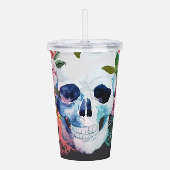 Flowers and Skull Acrylic Double-wall Tumbler