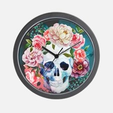 Flowers and Skull Wall Clock