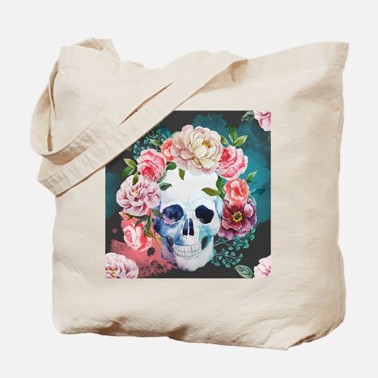 Flowers and Skull Tote Bag