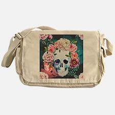 Flowers and Skull Messenger Bag