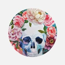 Flowers and Skull Button
