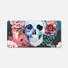 Flowers and Skull Aluminum License Plate