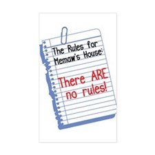 No Rules at Memaw's House Rectangle Decal