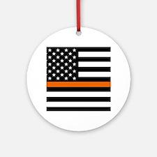 Search & Rescue: Black Flag & Thin Round Ornament