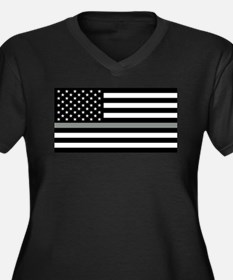 U.S. Flag: B Women's Plus Size V-Neck Dark T-Shirt