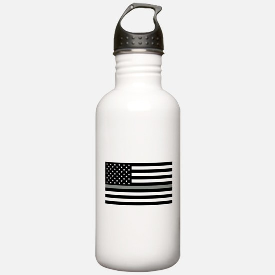 U.S. Flag: Black Flag Sports Water Bottle