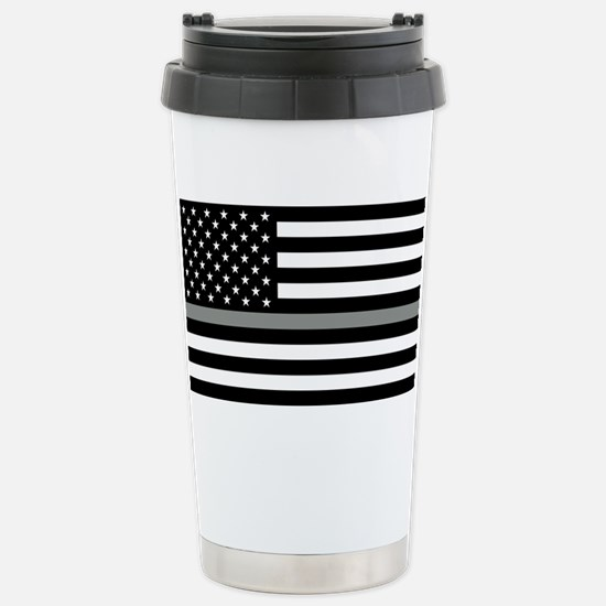 U.S. Flag: Black Flag & Stainless Steel Travel Mug