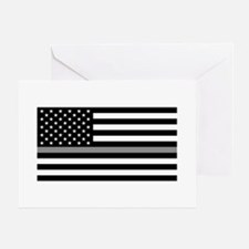 U.S. Flag: Black Flag & The Thin Gre Greeting Card