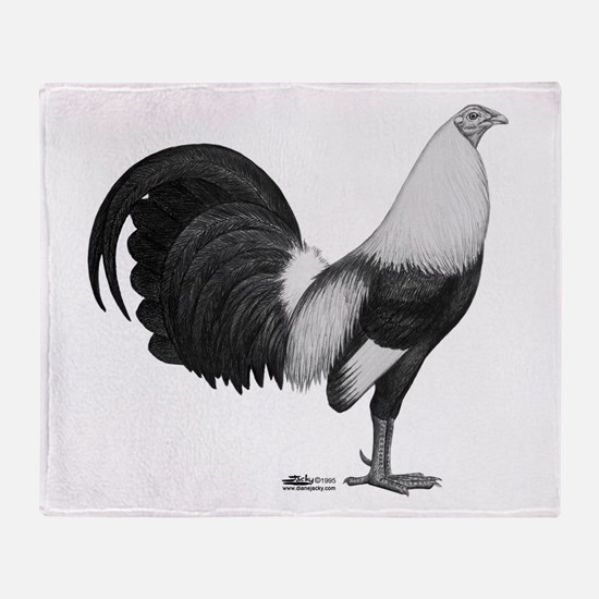 Gamecock Grey Duckwing Rooster Throw Blanket