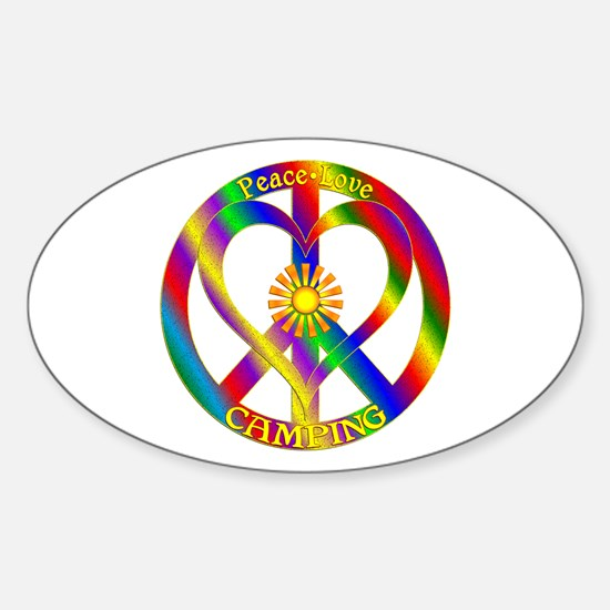 Peace Love Camping Sticker (Oval)