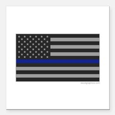 "Thin Blue Line Flag Square Car Magnet 3"" x 3"""