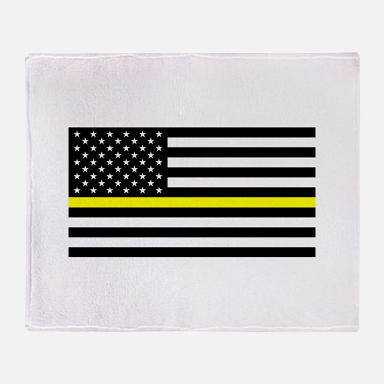 U.S. Flag: Black Flag & The Thin Yel Throw Blanket