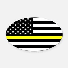 U.S. Flag: Black Flag & The Thin Y Oval Car Magnet