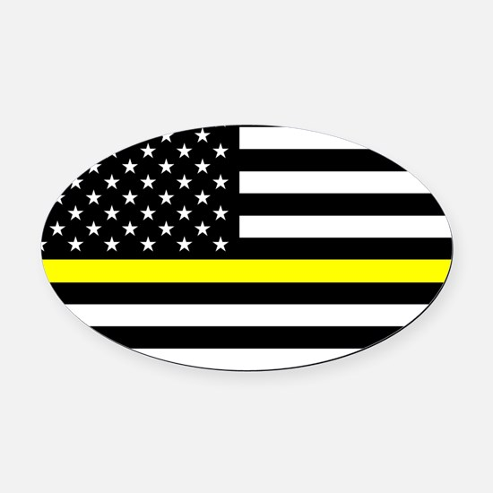 U.S. Flag: Black Flag & The Thin Y Oval Car Magnet