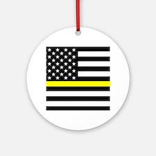 U.S. Flag: Black Flag & The Thin Ye Round Ornament