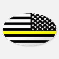 U.S. Flag: Black Flag & The Thin Ye Sticker (Oval)