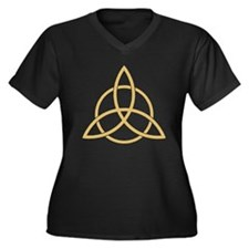 Triquetra Women's Plus Size V-Neck Dark T-Shirt