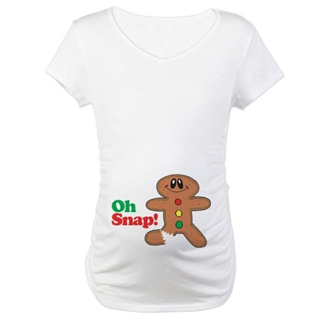 Christmas Gingerbread Oh Snap Maternity T-Shirt